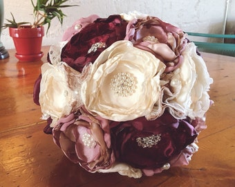 Dusty rose fabric bouquet, brooch bouquet, lace fabric flower bouquet
