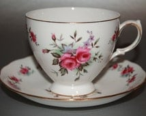 "QUEEN ANNE Bone China Teacup and Saucer Set ""Pattern Number 8186"" 1953-64"
