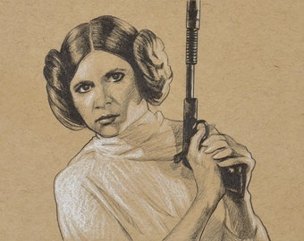 ORIGINAL DRAWING Star Wars Princess Leia Blaster Pencil Pastel Fan Gift Portrait 5 x 7 Inches