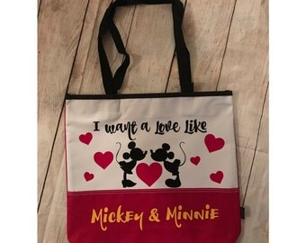 I want a love like mickey and minnie Large Tote