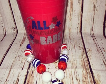 All American babe glitter red solo cup tumbler