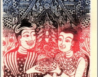 Thai traditional art of Thailand's Lanna by printing on Saa paper (Mulberry paper) Card