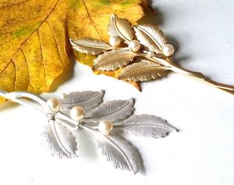 Leaf hair pins, pearl bobby hair pins, woodland wedding, silver pins, gold pins