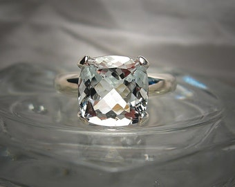 Genuine Aquamarine 10mm Cushion Cut Sterling Silver Solitaire Ring Size 7