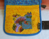 1980's Laurel Burch Make Up Bag/Coin Purse - UNUSED - Cat Design, Painted, Great Colors - Vintage - Tag Intact - Fabulous!