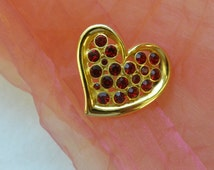 Vintage Heart Brooch - Faux Rubies, Gold, Great Size - 1970's - Beautiful!