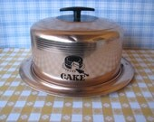 Cake Carrier - West Bend - Typography - Aluminum - Pink - Vintage 1960's