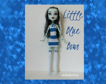 """SALE = Monster High 17"""" Doll Clothes - Blue Striped Dress + Thigh-High Stockings + Jewelry - Handmade custom fashion by dolls4emma"""