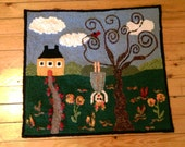 """Rug Hooked Wall Hanging """" Upside Down in the Summertime """""""