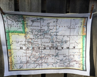 Haliburton map tea towel - FREE SHIPPING