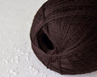 Merino wool yarn, Cobweb chocolate brown color wool yarn - haapsalu shawl yarn