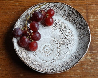 lace texture bowl wedding tableware round ceramic plate floral pattern personalized salad bowl housewarming gift stamped ceramic platter