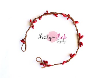 NEWBORN Red/Beaded Twig Crown Wreath-DIY Floral Crown-Infant Flower Crown- Unfinished Crown-Baby Crown-Infant Twig Crown-Baby Girl Crown-