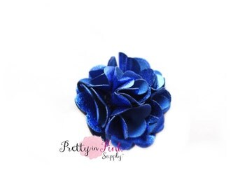 Royal Blue Metallic Puff Flowers Set of 4...Mini Satin Mesh Flowers...Satin Flowers..Tulle Flowers...Silk Flower