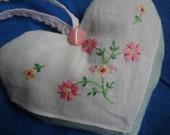 Lavender Heart Sachet - made from Vintage Hankie Handkerchief - Atlantic Rock Threads