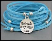 BOHO Wrap Bracelet - The Beach is my HAPPY Place Charm Bracelet - Multi Wrap Microfiber Faux Suede Beaded Cord - By Alex and Renee USA 335