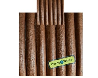 CW06201 - Camel - 0.40 meters x 6mm Round Leather Cord