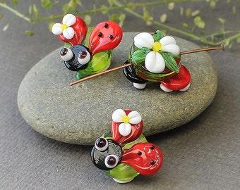 Handmade Lampwork Glass Animated Ladybug Bead, Lampwork Beads, Lampwork Glass Beads, Glass Beads, Beads, Lampwork, Glass, Lampwork Glass