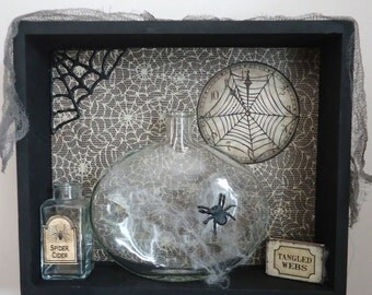 Halloween display props, spider webs, scarey curiosities, gothic decor, Arachnophobia fear of spiders,