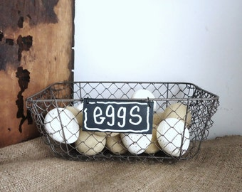 rustic wire basket, farmhouse kitchen storage basket, bathroom storage, garden shabby rustic cottage decor, chicken wire egg basket