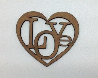 """Chipboard Word """"Love"""" Heart"""
