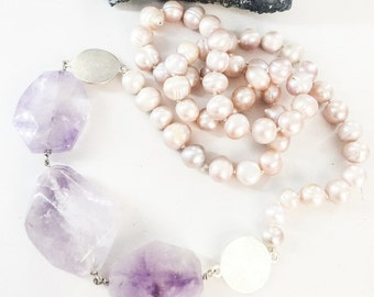 Pink Freshwater Pearl and Amethyst Necklace