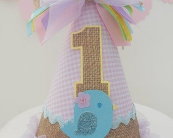 Lil' Birdie Burlap and Pink Gingham Birthday Party Hat - Pastels - Light Yellow, Light Purple, Blue, Pink and Burlap- Personalized