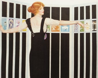 1912 Vintage print by C Coles Phillips - fadeaway girl redhead woman in black dress