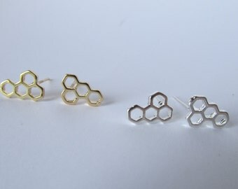 Hexagon Honeycomb Stud Earrings- Available in Gold and Silver