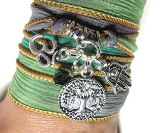 Om Silk Wrap Bracelet Tree Of Life Yoga Bracelet Hamsa Namaste Jewelry Bohemian Spiritual Jewelry Wrap Ribbon Bracelet Birthday Gift For Her