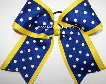 Bulk Cheer Bow, Blue Yellow Dance Bow, 7 Inch Cheer Bows, Royal Blue Yellow Cheerleader Bows, Volleyball Softball Soccer Team Cheap Bow Gift