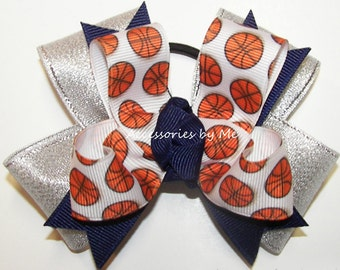 Basketball Bow, Basketball Blue Silver Pigtail, Basketball Ponytail Holder, Girls Baby Toddler Kids Hair Clip, Basketball Team Spirit Color
