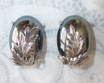 Vintage Silver Tone Hematite Clip On Earrings By Whiting and Davis