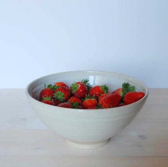 Stoneware Bowl White Ceramic Bowl Fruit Bowl Salad Bowl