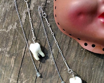 Human Tooth and Sterling Silver Threading Earrings