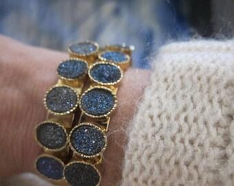 Druzy Bracelet,Druzy Cuff Bracelet Gold,Druzy Braclet,Geode Bracelet,Geode Braclet,Geode Bracelet,Blue,Druzy Jewelry,Geode Jewelry,Boho Cuff
