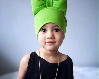 Beanie Hat Bow in Green