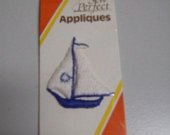 Vintage 70s Blue Sail Boat Applique Novelty Sewing Notion DIY Trim Baby