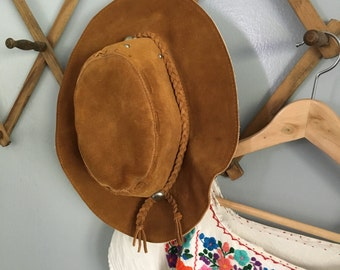 Vintage Bohemian Suede Brown Leather Festival Slouchy Western Hat