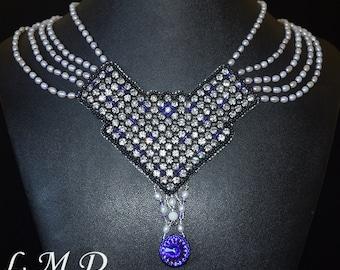 5 strands pearls Swarovski crystal handmade necklace