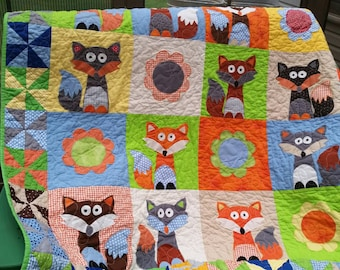 Fox Baby Quilt, Woodland Nursery, Boy Crib Bedding, Girl Crib Bedding, Nursery Bedding, Custom Crib Quilt, Baby Blanket Baby Bedding Blanket