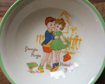 Georgie Porgie Nursery Rhyme bowl by Peggy Gibbons for W. R. Midwinter, made in England