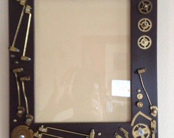 Upcycled Steam Punk Frame using Clock Parts