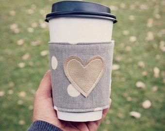 Gifts for Women. Coffee Cup Cozy.  Polka Dot Coffee Cozie. Coffee Holder. Coffee Sleeve. Stocking Stuffer. Cup Cozy
