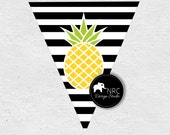 ON SALE Pineapple Party | Pineapple Party Printable | Pineapple Party Banner | Hawaiian Luau | Black White | NRCDesignStudio