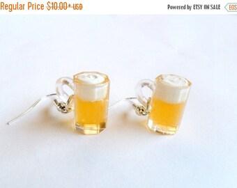ON SALE Beer Mug Earrings, Cute :D Choice of Sterling Silver Hooks