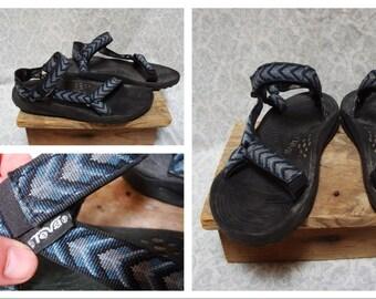 Vintage Retro Men's Teva Sandals Tribal Print Blue Gray Black Limited Edition Size 12