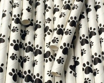 25 Animal Paw Print Paper Straws - Party Decorations Supplies Tableware