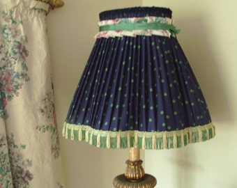 Handmade pleated lampshade, vintage polka dot fabric & trims.