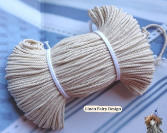 """Wholesale 100 meters Cotton Cord 3,5 mm / 0,14"""" Raw Organic Cotton Cord for Creative Project Sewing Crafts Jewellery Decorations"""